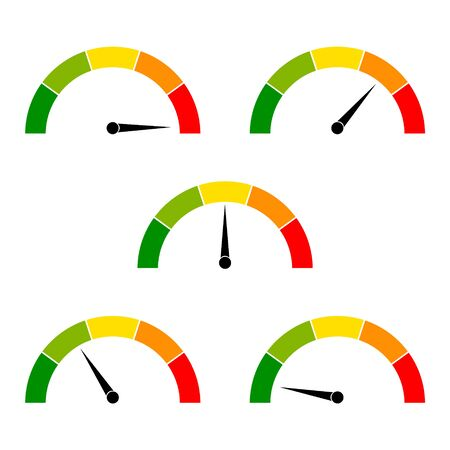 Speedometer icons with arrows. Dashboard with green, yellow, red indicators. Gauge elements of tachometer. Low, medium, high and risk levels. Scale score of speed, performance and rating power. Vector Vector Illustration