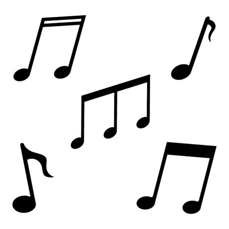 Music notes icon. Black symbols of song, sound, melody on white background. Notation for musical or dance apps. Graphic sign tune and symphony art. Notes for rock-pop singer and band producer. Vector.