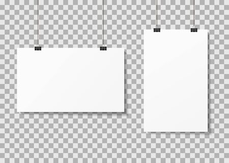 White paper posters hanging on binder clips with shadows. Mock up empty paper blank. Vertical, horizontal template flyer, sheet, frame on transparent background. White posters boards gallery. Vector.