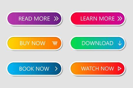 Satz moderner Web-Schaltflächen. Navigationsschaltflächenmenü mit Farbverlauf auf weißen Formen mit Schatten. Web-Action-Elemente zum Spielen, Anrufen, Kaufen, Lernen, Lesen und Herunterladen. Trendiger Stil. UI-Grafik für App. Vektor