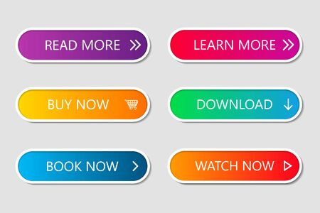 Set of modern web buttons. Navigation button menu with gradient on white forms with shadows. Web action elements for game, call, buy, learn, read and download. Trendy style. UI graphic for app. Vector