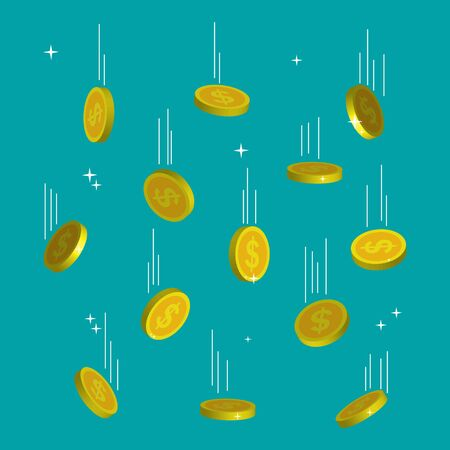 Falling golden coins. Shiny golden coins. Dollar gold cents on blue background. Money rain from sky. Finance, cash, treasure concept. Bitcoin currency symbol. Investment in a business project. Vector. Ilustrace