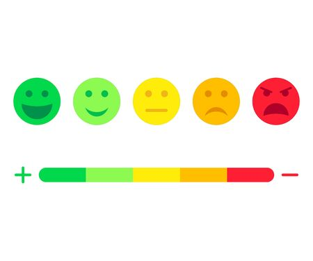 Feedback scale service with emotion icons. Meter emoticons empathy. User experience and feedback. Concept communication with customer. Opinion, evaluation, review rating. Good, bad mood face. Vector.