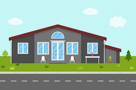 House in flat style. Home with green garden, grass and trees in street. Building without fence. Cottage in town or suburb with roof, exterior, entrance and road. Icon apartment for realtors. Vector.