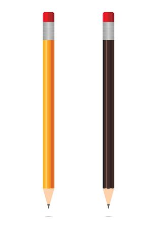 Realistic wooden pencils isolated on white background. Sharpened graphites. Mockup of stylus. Stationery for school, college, study, office, work. Pencils with shadows. Creative instruments. Vector. Archivio Fotografico - 147344783