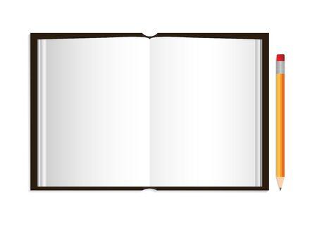 Öffnen Sie das Buch mit Bleistift. Leeres Tagebuch, Katalog, Magazin, Broschüre, Broschüre mit Ledereinband. Album mit Hardcover. Rahmen für Enzyklopädie oder Geschichte mit Schatten. Leere Seite. Bibel vor. Vektor.