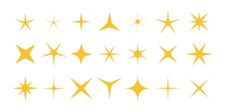 Sparkle of stars. Shiny, twinkle and bright stars. Symbols with magic glitter isolated on white background. Yellow decorative gold icons for holiday and christmas. Starburst glowing. Vector. Vectores
