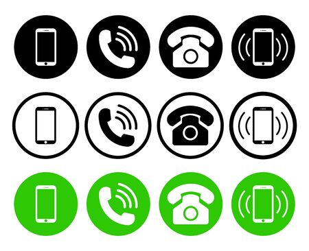 Phone icon. Telephone, mobile and call symbols. Set of graphic smartphone, cellphone and telephony for conversation, support, hotline, connection with customer. Smart receivers for office. Vector.