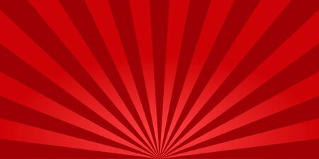 Red sunburst background. Retro background with sun beam. Comic rays. Red bright sunbeams. Light texture backdrop for japanese style. Summer pattern with shiny flare for poster and banner. Vector. 矢量图像