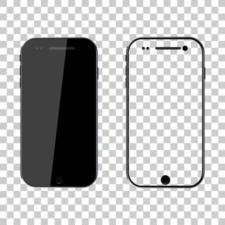 PNG mockup. Phone mock up. Black smartphone. Mobile cellphone with blank screen isolated on transparent background. Template and frame of smart. Realistic 3d 6,7 ui for app, background. Vector.