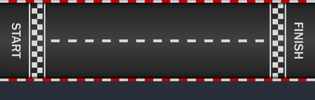 Moto race. Lane, gp, track with start, finish line and borders. Racetrack with kart. Black asphalt road for car . Fast countdown on way. Auto background and wallpapers. Tarmac view. Vector.