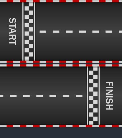 Race track with start and finish line for car. Asphalt road . Texture for racing top formula. Pattern of fast speedway. Racetrack on street. Surface for auto-moto sport. Auto wallpapers. Vector.
