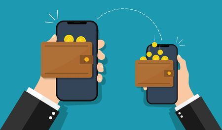 Money mobile transfer. Easy payment in electronic wallet. Man fast send and receive pay from cellphone. Wireless contactless transaction concept. App for commerce operation and purchase. Vector.