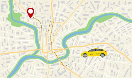 Map of taxi car. App navigator, gps on street of city. Direction, destination of taxi vehicle on road. App for travel, delivery, business. Orientation, location in town. Pathway on address. Vector.