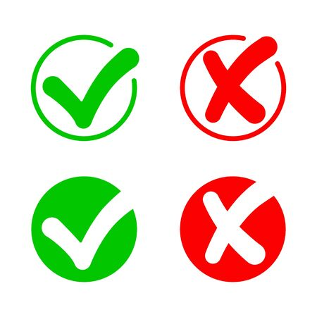 Checkmark and cross. Icon of true. Check answer. Wrong, correct, incorrect and right symbols. x or ok. Green yes, red dont. Positive and bad sign. Button for quiz. Circle with agree and error. Vector.