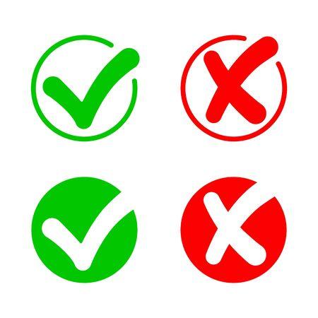 Häkchen und Kreuz. Ikone der Wahrheit. Prüfe die Antwort. Falsche, richtige, falsche und richtige Symbole. x oder ok. Grün ja, rot nicht. Positives und schlechtes Zeichen. Schaltfläche für Quiz. Kreisen Sie mit Zustimmung und Fehler ein. Vektor.