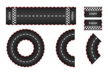 Infinity race. Track with start, finish and line on road. Curve and circle racetrack.  Highway, asphalt, drift of car icon. 3d traffic background. Set of roadways for sport kart. Vector. Illustration
