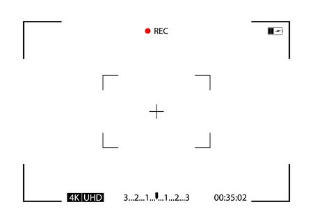 Recording video of camera. Frame, focus and rec. Viewfinder on screen. Background for photo, snapshots, videography, photography. Shutter, lens, zoom, display, recorder of camcorder. Vector.