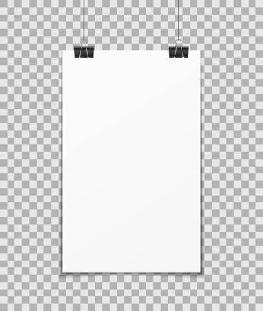 Hang poster. a3, a4 mockup on wall. Blank paper with clamp. White banner and background for presentation, notice. Empty page with shadow. Template of showcase, frame, flyer, gallery, billboard. Vector Çizim