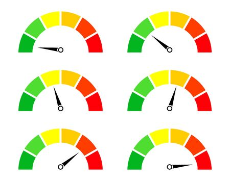 Risk meters. Gauge and icon of speedometer. Score of performance, speed, power, pressure and progress. Dial with low, medium and high level. Test on dashboard in car. Good or bad rating. Vector.