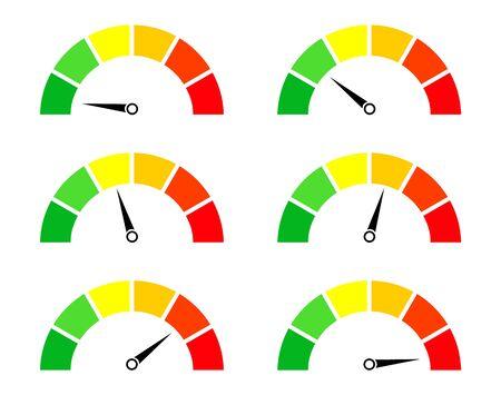 Compteurs de risque. Jauge et icône du compteur de vitesse. Score de performance, vitesse, puissance, pression et progression. Cadran avec niveau bas, moyen et haut. Test sur tableau de bord en voiture. Bonne ou mauvaise note. Vecteur.