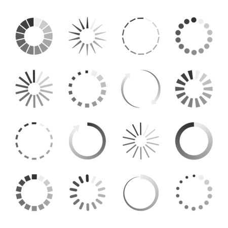 Load icons. Process of wait on digital screen. Bar of circular elements for loading. Buffering download. Progress in speed upload. Countdown of time in status loader. Symbol for app, interface. Vector