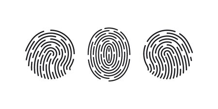 Fingerprint icons. Thumb finger  . Print of unique thumbprint. Personal id identity. Biometric password human. Press finger, scan for safety. Individual fingertip is verification in police. Vector.