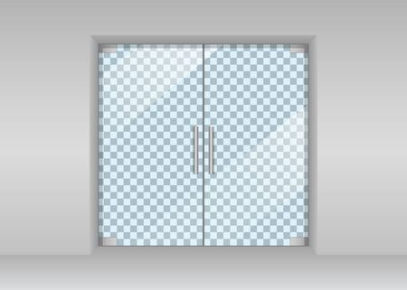 Glass door in store. Automatic entrance in shop. Realistic double door in supermarket and office with glares. Window front view. Facade wall with aluminum, metal frame and entry in hall market. Vector Ilustración de vector