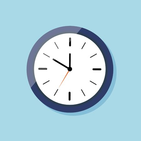 Clock for wall on flat style. Icon of watch. Blue clock with white dial and shadow. Time in round alarm. Black hour arrow, orange stopwatch arrow. ticking timer. Concept of countdown. Vector.