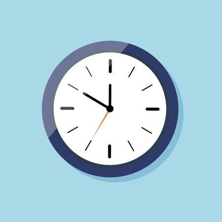 Horloge pour mur sur style plat. Icône de montre. Horloge bleue avec cadran blanc et ombre. Temps en alarme ronde. Flèche d'heure noire, flèche de chronomètre orange. minuterie. Concept de compte à rebours. Vecteur.