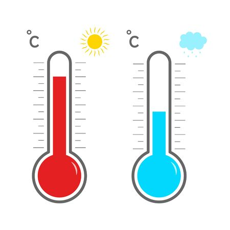 Thermometer icons. Hot and cold temperature. Symbol meteorology and weather. Measurement of heat for celsius or fahrenheit. Scale of thermostat. Meter, control of cool and warm climate. Vector.