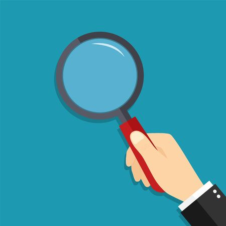 Glass magnify in hand. Lens of magnifying loupe for search. Cartoon zoom for detective. Man hold magnifier and focus for enlarge. Concept of research, discovery, find, investigation and verify. Vector Vetores