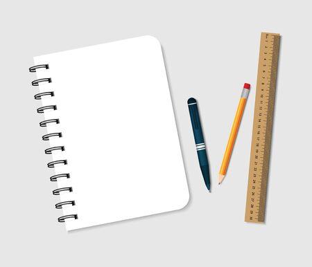 Cahier à spirale avec stylo, crayon et règle. Bloc-notes pour note à l'école. Bloc papier A5 avec couverture et classeur pour bureau, éducation. Livret relié avec papeterie pour maths, dessin. Journal vierge. Vecteur.