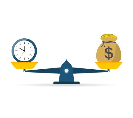 Balance scale of money and time. Icon of compare weight. Comparison of price and work. Value equity. Economy in life without debt. Salary and investment in dollar. Business and finance concept. Vector Vektorové ilustrace