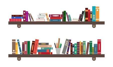 Shelf with book. Library on bookshelf. Bookcase in school, room or bookstore. Background for study, education. Interior with furniture in office. Pile of literature in home cabinet. Flat icon. Vector. 版權商用圖片 - 148168604