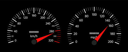 Speedometer of car. Fast speed on dashboard. tachometer and gauge of kilometer or mile. Auto panel with dial of instrument for race. Vehicle background with high velocity. Interface for sport. Vector.