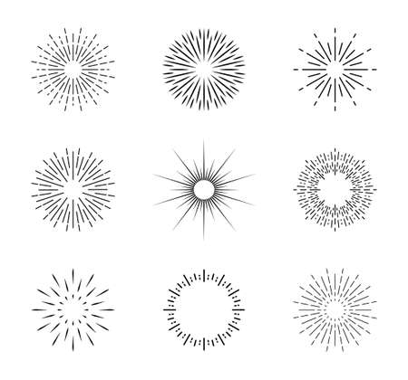 Burst of sun. Vintage sunburst with sparks. Circles with lines. Shine of star rays. Starburst icons and radial sunbeam. Light sunrise or sunset in linear style. Retro sunshine illustration. Vector.