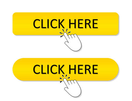 Click here button. Register icon. Yellow banner for website with hand. Finger press link for online buy. Promotion bar in internet. Action background with sign. Cursor, ui in web for tap, go. Vector.