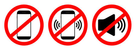 Phone off icon. Sign of mobile ban. Forbidden use cellphone, sound. Stop call symbol in smartphone. Zone of mute telephone. Switch on quiet. Strikethrough device in cinema and danger area. Vector. Vectores