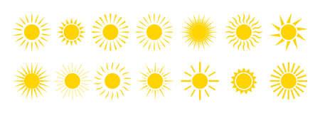 Sun icons. Yellow summer sunrise and sunset. Cartoon graphic sunshine symbol. Sunny morning with sunlights. Set of orange circles with bright rays. Heat weather. Logo of nature energy. Vector. Ilustrace
