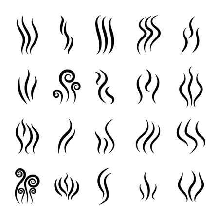 Steam and smoke icon. Logo of smell, aroma from grill. Heat and odor from fire with flame. Hot coffee symbol. Silhouette of perfume scent. Lines of gas or water. Graphic smog from evaporation. Vector.
