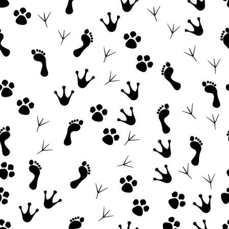 Paw seamless pattern. Animal and human paws. Footprint of cat, dog and bird for print. Cartoon or veterinary wallpaper with trace of wildlife. Steps of cute pets. Graphic silhouette of trail. Vector.