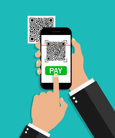 QR code scan from mobile. Payment from phone. Smartphone with scanner and reader barcode. Receipt for smart pay. App for capture qrcodes. Telephone in hand with transaction in screen. Vector.