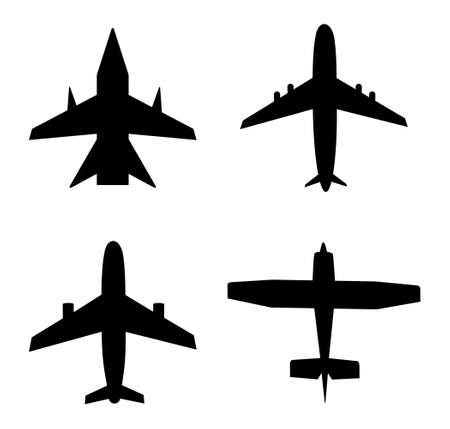 Plane icon. Jet in air. Airplane for travel, cargo, commercial flight. Silhouette of aircraft. Aeroplane fly from airport. Set of black airliners. Symbol airline, aviation and transport. Vector. Иллюстрация