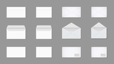 White letter in envelop. Blank mockup of a4, a5, c5 for post. Open and closed paper card for mail. Envelopes in front with documents. Template for stationery in office, business and messages. Vector.