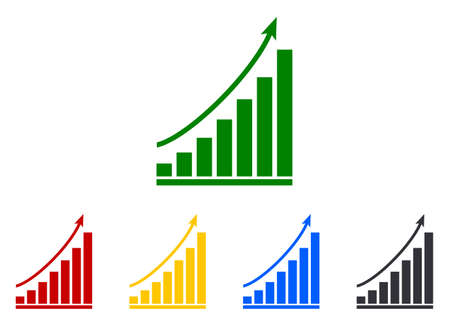 Graph of grow. Chart with arrow up. Icon of growth benefit. Increase gain sales. Graphic rise profit. Increment economy, money. Bar for statistic measure of finance, business. Concept success. Vector.