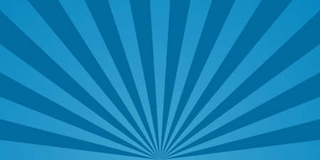 Comic starburst. Blue background with sunburst. Retro radial rays with bright effects for book. Blue pop abstract texture with sunbeam. Burst of lightning in the sky. Graphic lines from 70s. Vector.