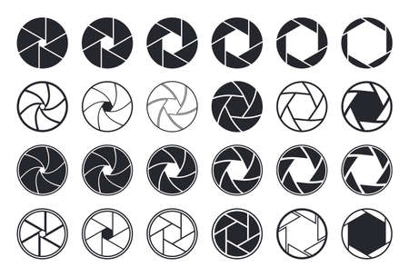 Camera shutter icons. Aperture and lens for focus. Photo optics. Diaphragm, objective, zoom-snap of photograph. Symbol for photo, video equipment. Vector.