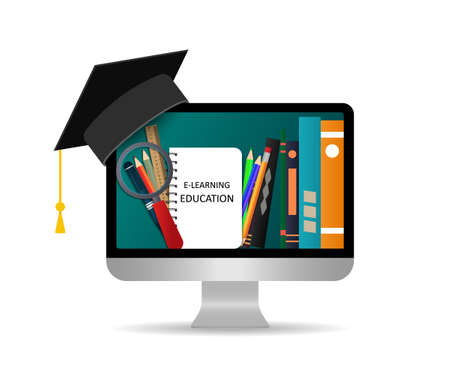 Online education. Study in online school using computer. Training using distance media technology. E-learning concept. Books in internet classroom of university, college. Icon of knowledge. Vector.