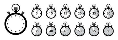 Timer icon. Set of stopwatches. Clock with stop time and arrow. Watch for speed in sport. Chronometer and countdown with interval. 5, 10,15, 20, 25, 30, 35, 40, 45, 55, min. label of deadline. Vector.